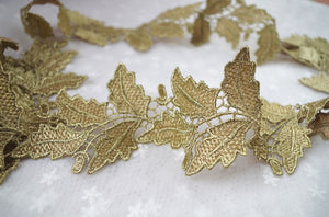 metalic Gold Lace Trim with retro floral leaves - lace era