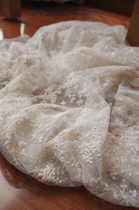 ivory cream Lace fabric, Embroidered tulle lace fabric, bridal lace fabric, antique bridal lace, curtain fabric, scalloped lace fabric - lace era