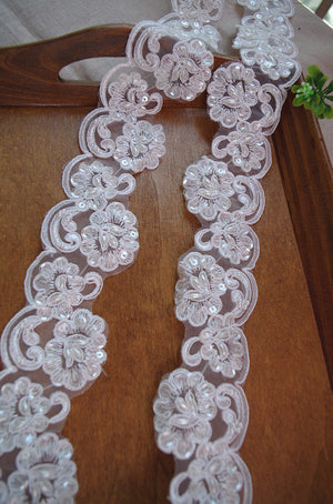 ivory beaded lace trim, sequined bridal trim lace, ivory cord lace trim for bridal veil, pearl bead cord lace trim