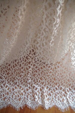 off white Chantilly lace fabric, ivory lace fabric with eyelash scalloped border, bridal lace fabric for wedding dress