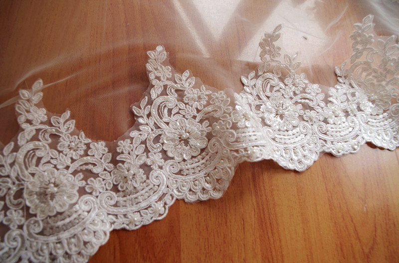 pearl beaded lace trim, bridal lace trim, ivory alencon lace trim, sequined wedding trim lace, beading lace for bridal veil