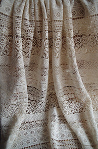 ivory cotton Lace Fabric, cotton crocheted lace fabric, antique style lace fabric, hollowed out lace fabric - lace era