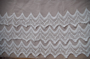 cotton embroidered lace, scalloped lace with 3 layers of wave border, mesh lace trim, tulle lace trim, ivory lace trim