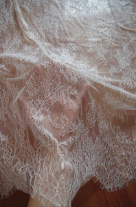off white Chantilly lace fabric, bridal chantilly lace, retro wedding lace fabric with scalloped edge