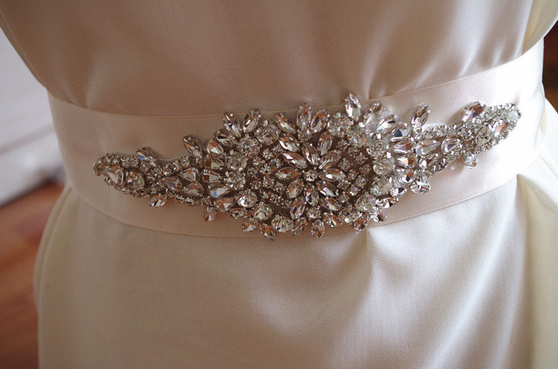 crystal bridal sash applique, bridal belt applique, rhinestone sash applique