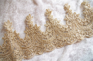 Gold Cord lace trim by the yard, gold alencon lace trim
