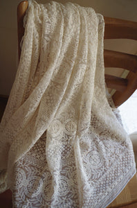 ivory Embroidered mesh lace fabric with round circle patterns - lace era