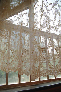 cream lace fabric, embroidered tulle lace fabric with scalloped edge