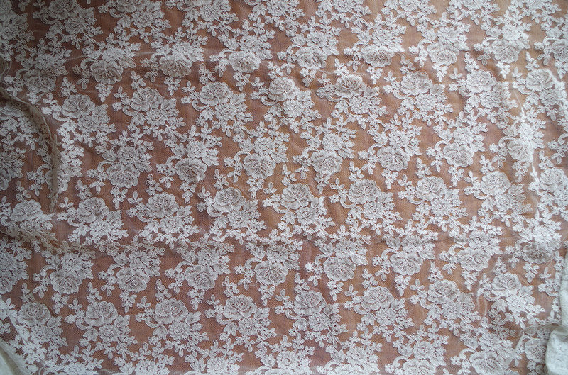 off White Alencon Lace Fabric with grace floral, corded lace fabric, bridal lace fabric by the yard