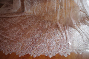 black Chantilly lace fabric, bridal chantilly lace, retro wedding lace fabric with double scalloped edges