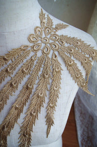 metallic gold Applique, lace applique with phoenix, venice Lace Applique with peacock tail, golden lace applique