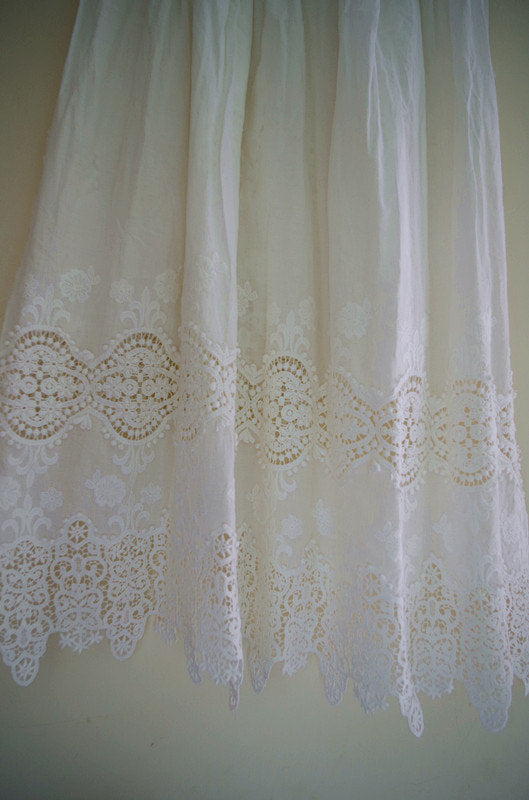 cotton eyelet lace fabric with retro floral pattern, 100% cotton lace fabric, embroidered lace fabric, retro scalloped lace fabric by yard