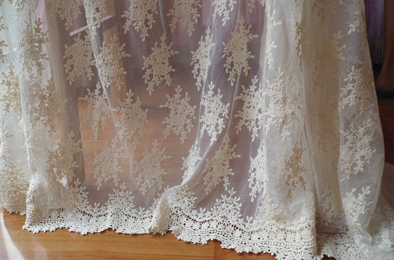 ivory  Lace fabric with retro Embroidery, ivory tulle lace fabric with embroidered florals, mesh lace fabric