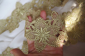 metallic Gold Lace Trim, gold crochet lace with star flower, delicate gold lace