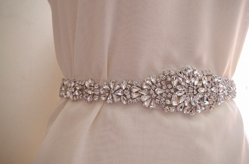 crystal sash applique, rhinestone bridal belt,  wedding sash applique, bridal sash applique,  all waist around length ZP086
