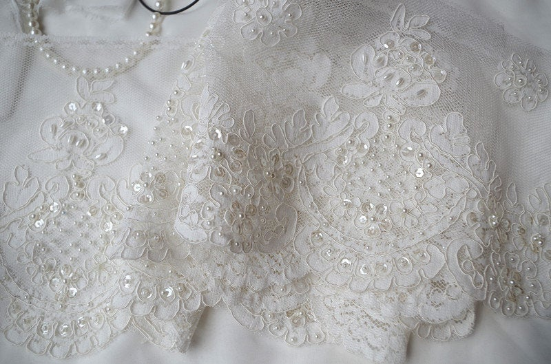 ivory pearl bead lace trim, cord lace trim, sequined lace trim, bridal lace trim, beading lace trim