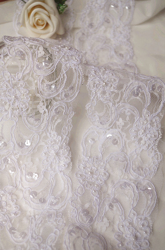 white alencon lace trim with pearl and sequins, bead cord lace trim, sequined lace trim