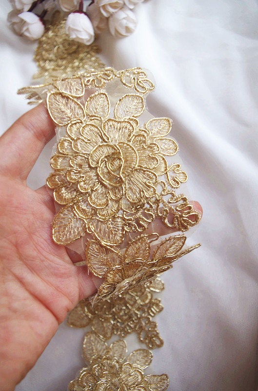 gold cord lace trim by the yard