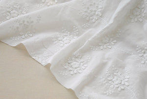 cotton lace fabric with 3D flowers, cotton embroidered lace fabric - lace era