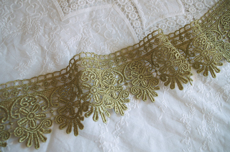 metalic Gold Lace Trim, gold lace, gold scalloped lace trim