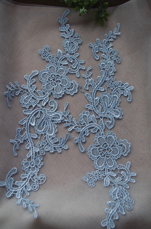 navy blue lace applique by pairs, venice lace applique, champagne lace aplique