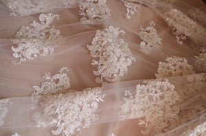Delicate bead lace fabric, bridal lace fabric with pearl and sequins, heavy bead lace fabric for bridal dress, bridal lace fabric