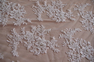 luxury bead lace fabric, bridal cord lace fabric,ivory bead lace fabric