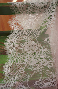 off white Chantilly lace fabric, bridal chantilly lace, retro wedding lace fabric with scalloped borders