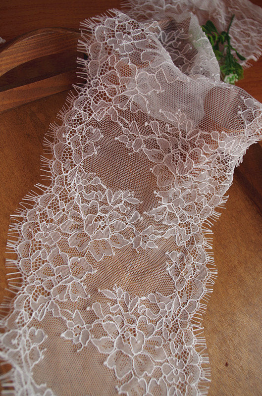 chantilly lace trim with eyelash edges, bridal lace trim with retro floral