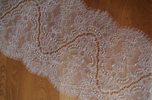 chantilly lace trim, eyelash lace fabric, ivory lace trim, bridal lace trim, wedding table runner, burlap lace trim