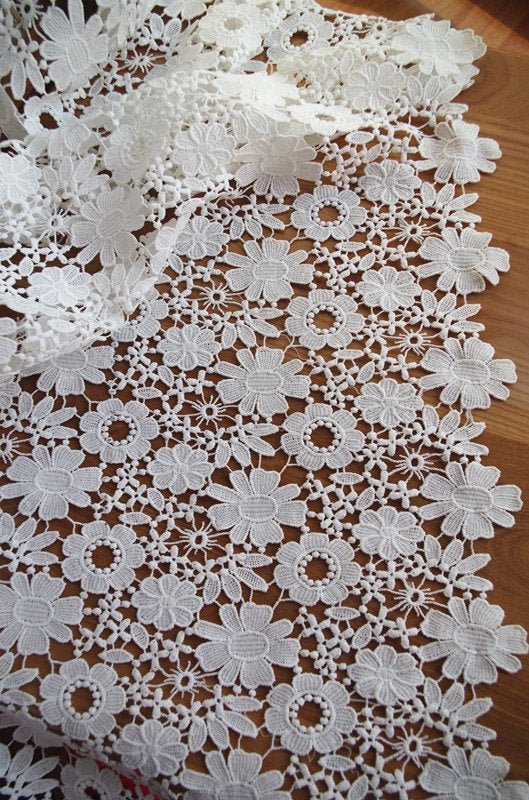 off white lace fabric, crocheted lace fabric with flowers