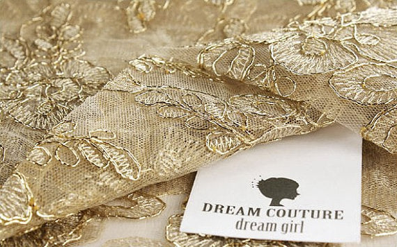 gold cord lace fabric, retro floral lace fabric, gold alencon lace fabric