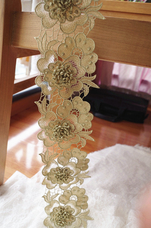gold 3D flower lace trim, metallic gold lace trim with 3D flower