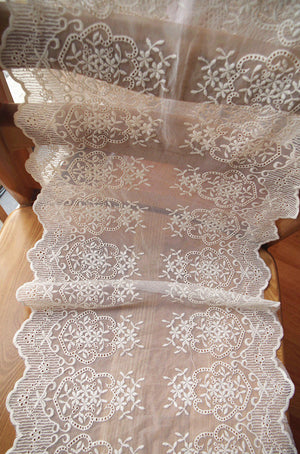 ivory cream lace trim with double motif selvedge, wedding table runner lace, burlap lace trim - lace era