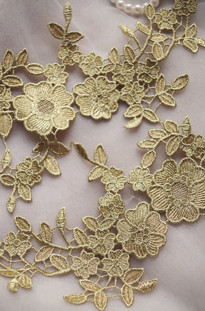 gold lace applique by pairs, metallic gold venise lace applique