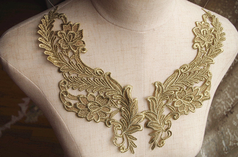 gold lace applique by pairs, metallic gold lace applique