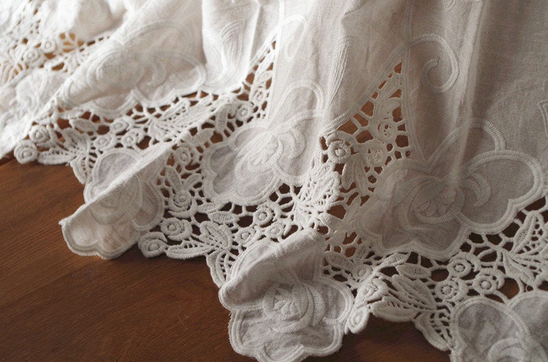 cotton eyelet lace fabric with hollowed out floral pattern by the yard, cotton eyelet lace fabric, white lace fabric