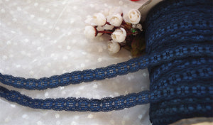 3 yards navy blue elastic lace trim, stretch lace lace trimming, cord flexible lace trimming