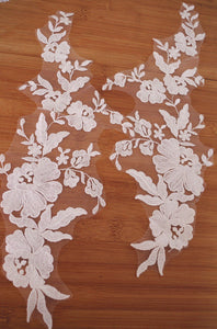 2 pcs lace applique with retro flowers, embroidered lace appliques, ivory lace applique