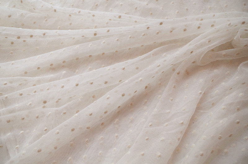 ivory cream mesh Lace fabric with embroidered polka dots - lace era