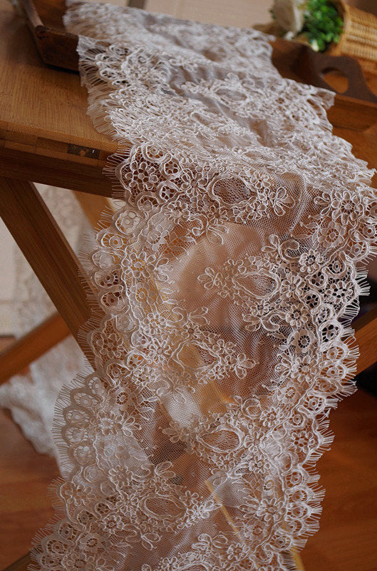 cord lace with double alencon lace borders, French alencon lace, eyelash bridal lace trim, wedding table runner