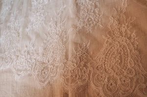 French alencon lace fabric, cord lace fabric for bridal lace fabric, bridal lace fabric with scallops