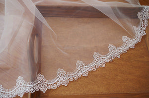 off white lace trim, scalloped lace trimming by the yard DG113B