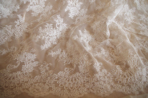 off white cord lace fabric, alencon lace fabric for bridal dress - lace era