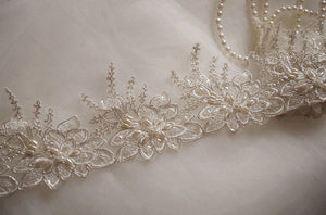 ivory pearl beaded lace trim, ivory alencon lace trim, scalloped lace trim, sequined trim lace CGDZ81B