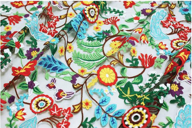 deluxe tulle embroidered lace fabric with colorful flowers, best seller - lace era