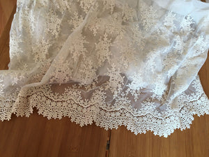 ivory  Lace fabric with retro flower Embroidery, embroidered tulle lace fabric, ivory mesh lace fabric