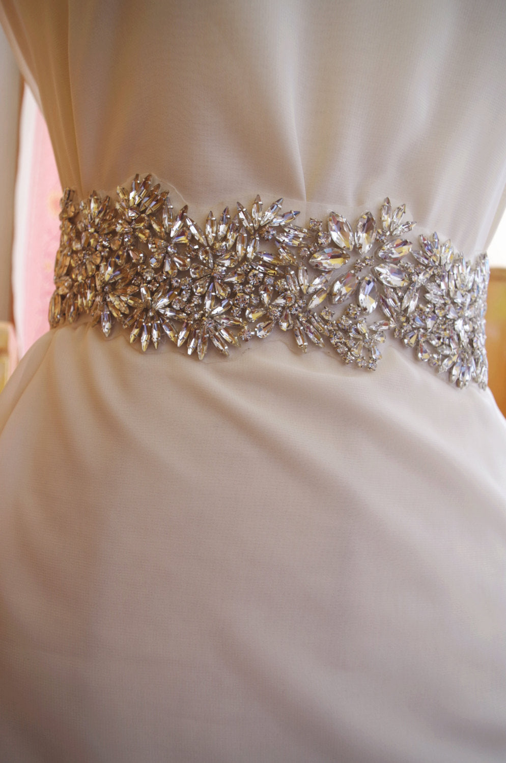 crystal sash applique, rhinestone sash Applique, bridal sash applique, rhinestone bridal belt wedding sash belt wedding belt one piece