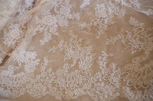 Jacquard lace fabric, cord lace fabric for bridal lace