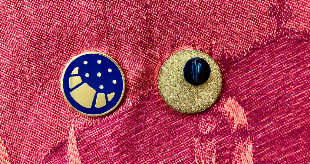 Croissant Moon and Stars Enamel Pin